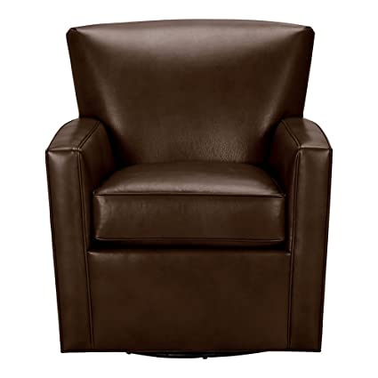 Beau Ethan Allen Turner Leather Swivel Chair, Omni Brown Top Grain Leather