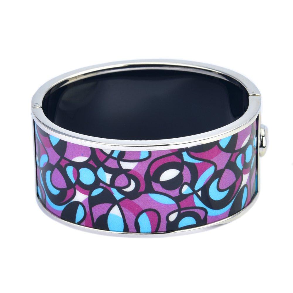 BIJOUX BOBBI Purple /& Blue Art Noveau Abstract Design HD Printed Hinged Bangle