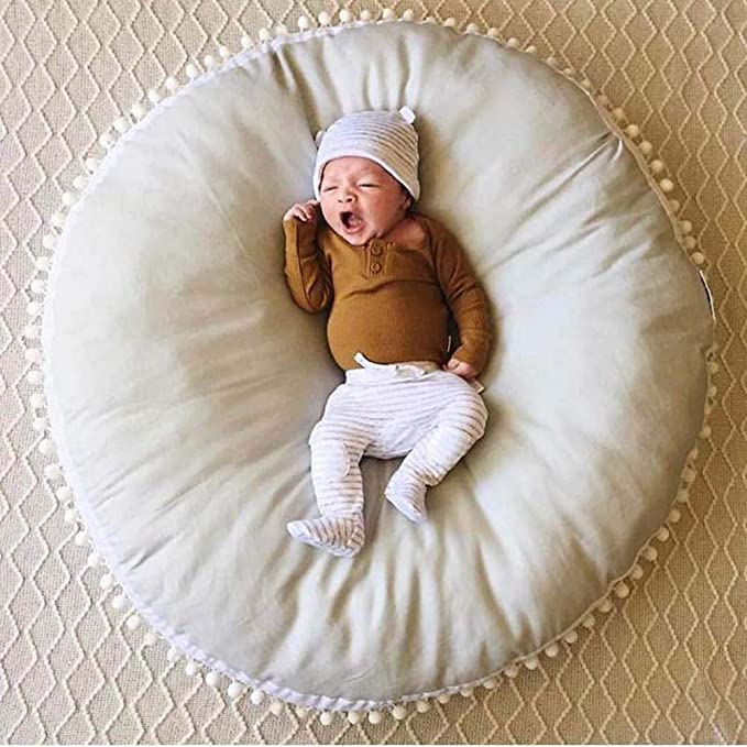 Yellow HOUTBY Round Rug Solid Color Cotton Kid Play Mat Soft Comfortable Carpet Baby Room Nursery Teepee Tent Decoration 35.4inch