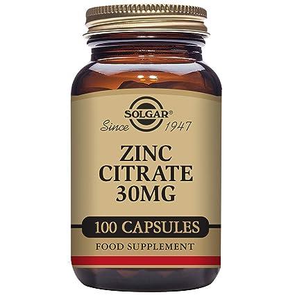 Solgar - Citrato de Zinc 30 mg, 100 Cápsulas Vegetarianas