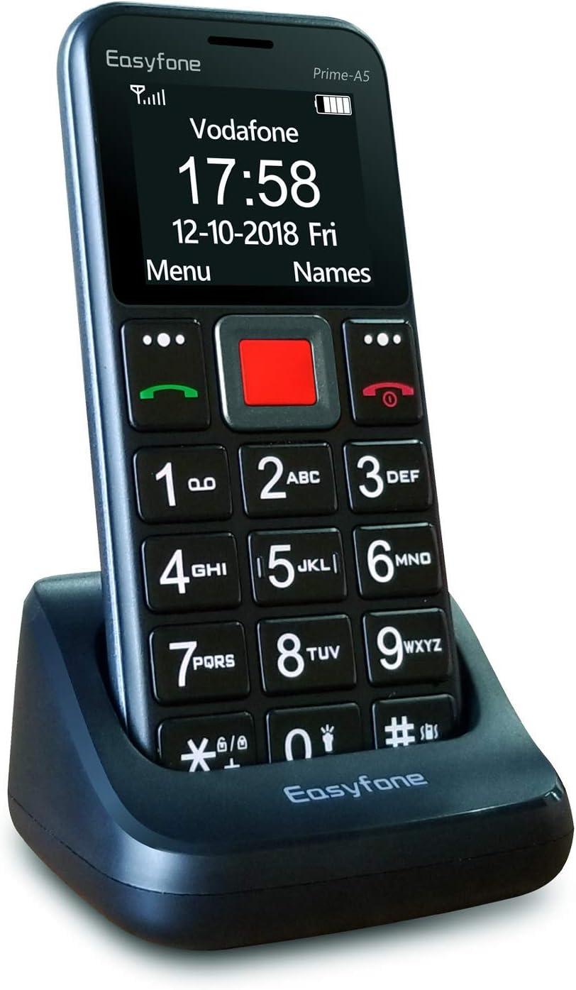 Easyfone Prime-A5 Teléfono Móvil para Mayores con botón SOS y Base cargadora, Negro (A5)