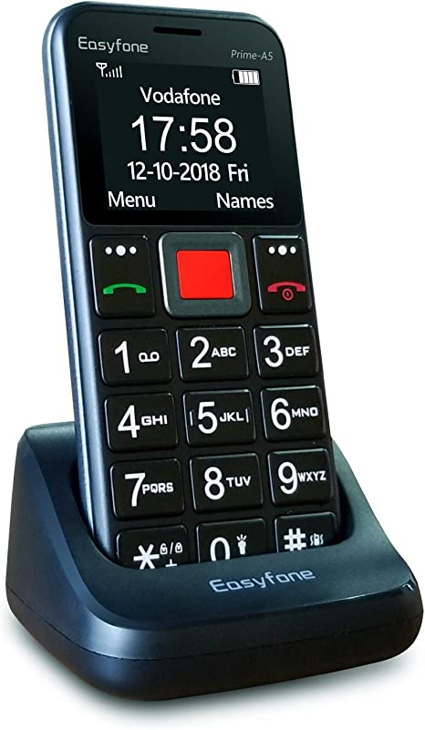 Easyfone Prime-A5 Teléfono Móvil para Mayores con botón SOS y Base ...