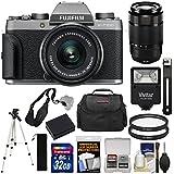Fujifilm X-T100 Digital Camera & 15-45mm XC OIS PZ (Dark Silver) 50-230mm Lens + 32GB Card + Battery + Tripod + Flash + Case + Kit