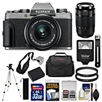 Fujifilm X-T100 Digital Camera & 15-45mm XC OIS PZ (Dark Silver) with 50-230mm Lens + 32GB Card + Battery + Tripod + Flash + Case + Kit