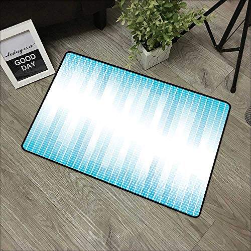Hall mat W35 x L47 INCH Modern,Contemporary Geometric Squared Design with Lines Ombre Like Colored Image Print,White and Blue_1 with Non-Slip Backing Door Mat Carpet