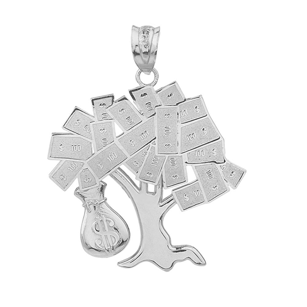 Sterling Silver USD Dollar Money Bag Treasure Tree Pendant Necklace