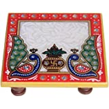 Balaji arts Kalash Design Multicolor Marble Pooja Chowki (10.2 x 10.2 x 2.55 cm)