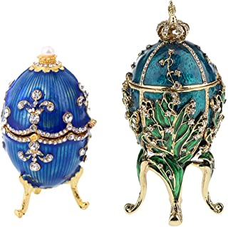 Fenteer 2Pcs Luxury Faberge Easter Eggs Russian Royal Case Leg Jewellery Box Holder