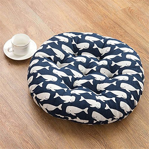 Round Cotton Pillow Chair Pad Thickened Soft Tatami Cushion Chair Pads Seat by Uther(Whale,17.7x17.7 inch) by Uther