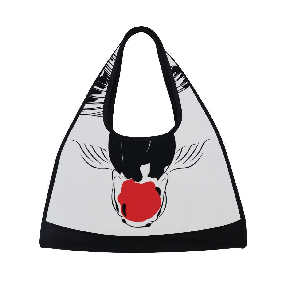 OuLian Sport Gym Bag Koi Fish Canvas Travel Duffel Bag