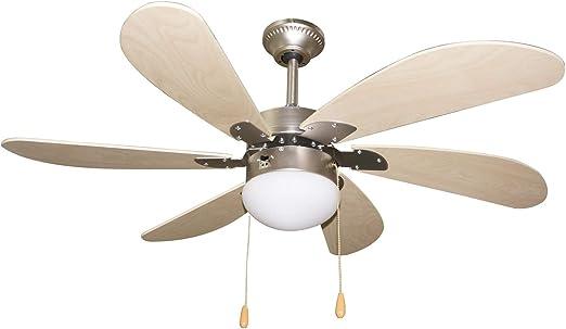 Ventilador de techo 107 cm margarita 6 aspas efecto madera con luz ...