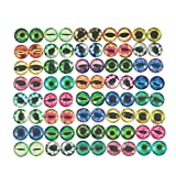 """YAKA 50Pcs Glass Cat Dragon Eyes for Craft, Doll Eyes for DIY Handmade Jewelry Making,Dome, Flat Back,8mm (8mm/0.3"""")"""