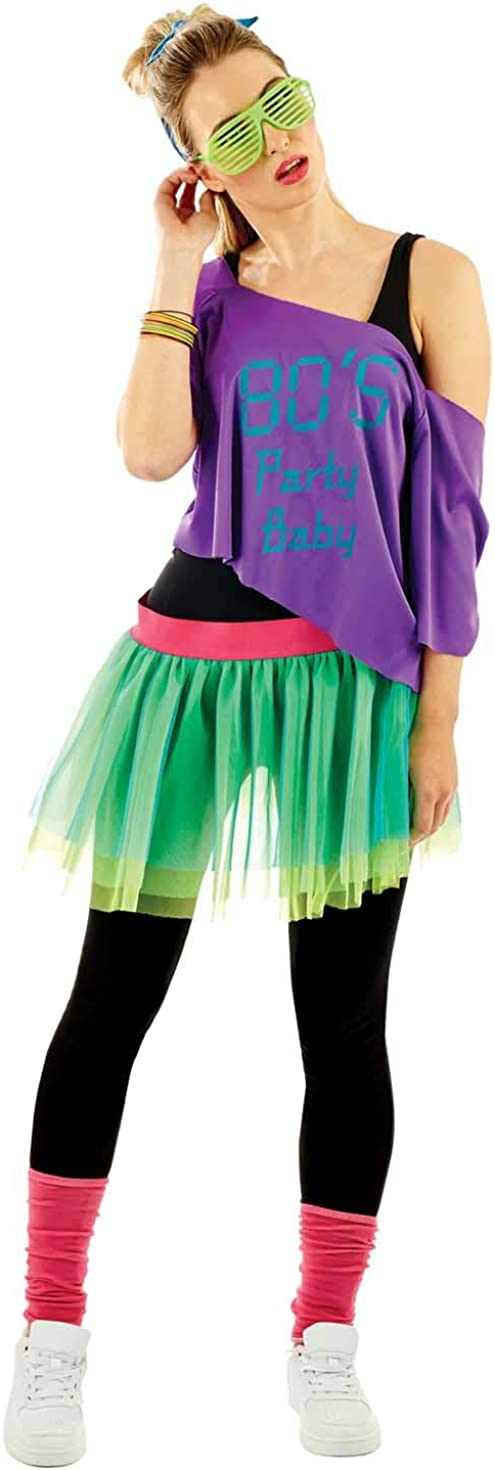 80s Costumes, Outfit Ideas- Girls and Guys Womens 80s Purple & Green Neon Costume Adults Decades Party Tutu Outfit - One Size  AT vintagedancer.com