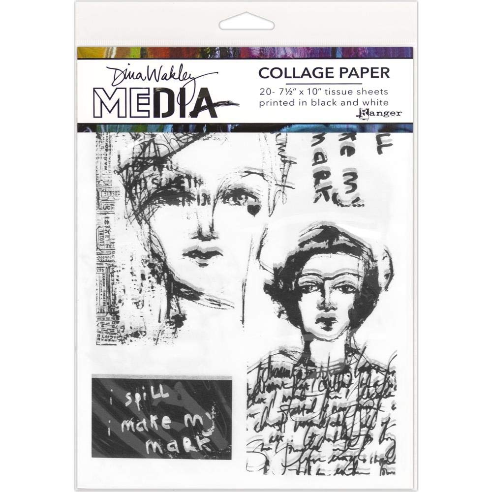 Hintergrund Gesichter und Vintage /& Skizzen 3-teilig Dina Wakley Media Collage Papier Set