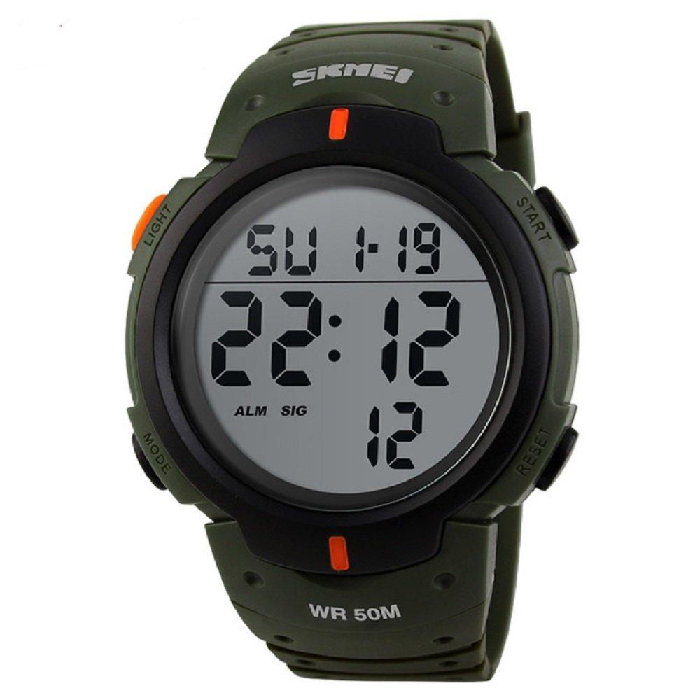 para la práctica de Deportes Reloj Digital 5 ATM Resistente al Agua Reloj LED de Gran tamaño número Pantalla Lumious cronómetro Alarma Reloj ejército al ...