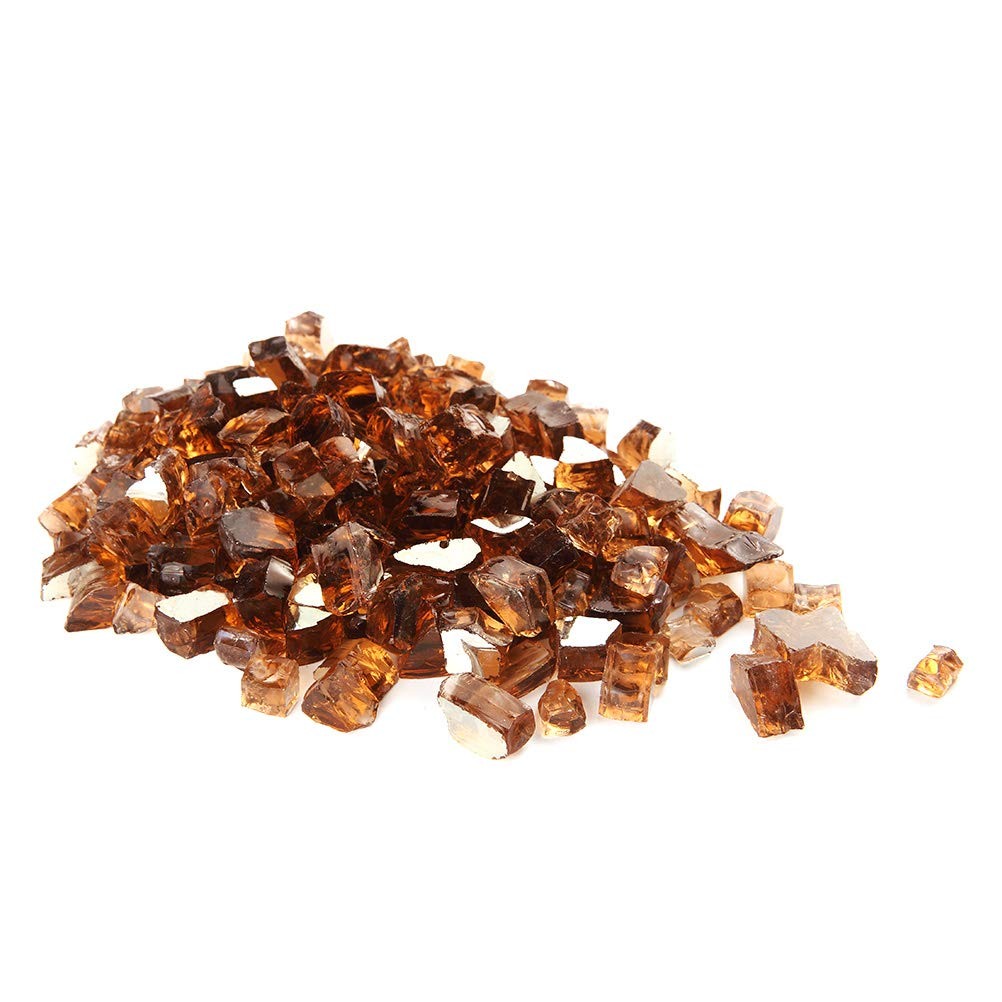 MITOO Fire Glass for Fire Pit - Crushed Fire Glass for Indoor and Outdoor Gas & Propane Fireplace Glass Beads Decor - Diamonds Semi-Reflective | 10 Pounds | 1/2 Inch, Margarita Brownish Grayish Luster