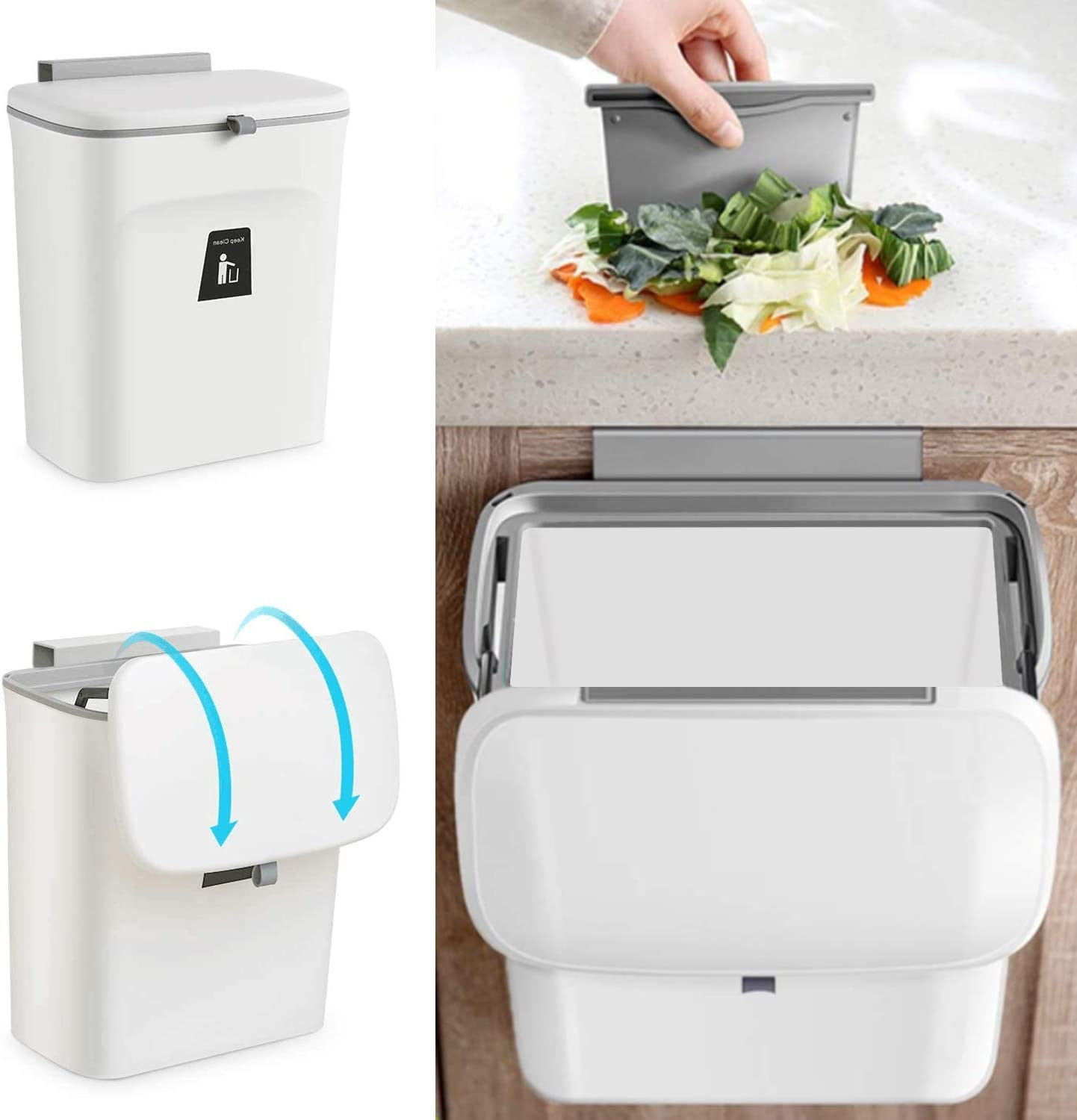 White Wall-Mounted Counter Small Trash Can with Lid for Cupboard,Bedroom,Office,Camping.Mountable Indoor Compost Bucket Aurora 2.4 Gal Hanging Kitchen Compost Bin for Counter Top or Under Sink I