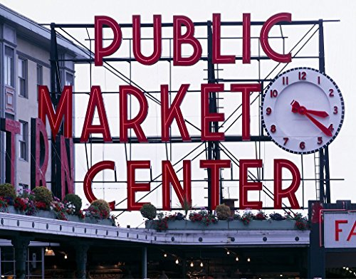 Vintography 24 x 36 Giclee Print of Pike Place Market Sign Public Market Center with Clock Seattle Washington r97 [Between 1980 and 2006] by Highsmith, Carol M,