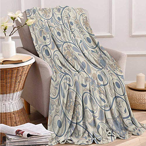 (Fenlin Vintage, Throw Blanket for Kids, Oriental Scroll with Swirling Leaves with Eastern Design Inspirations, Summer Blanket, 90x70 Inch Beige Tan Slate Blue)