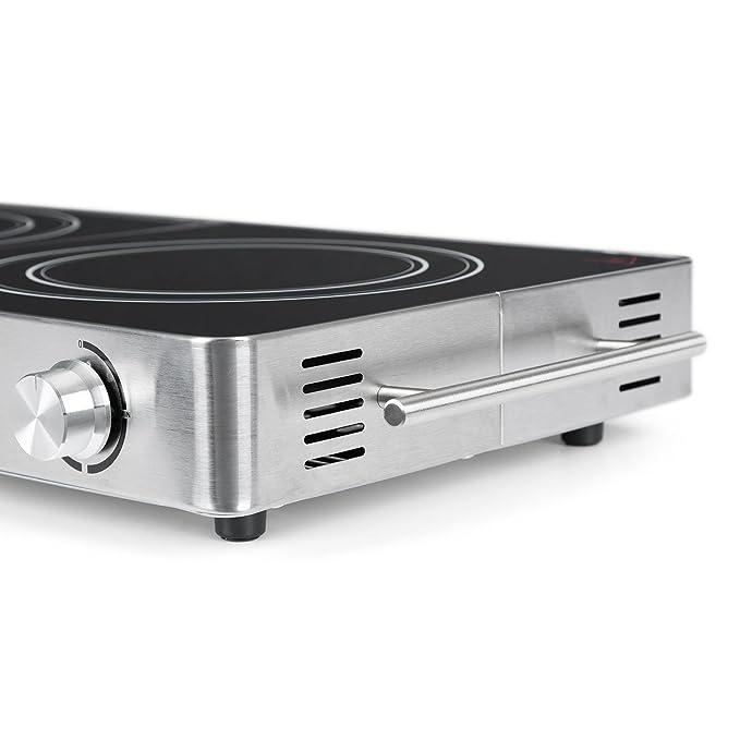 Klarstein VariCook Duo Silver Edition - Placa vitrocerámica, Cocción doble, Potencia: 1800W-20cm Ø, 1200W-16,5cm Ø, Indicadores luminosos, Calentador ...