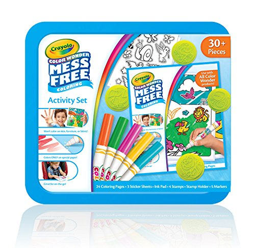 Crayola Color Wonder Mess Free Coloring Activity Set, Animals Arts & Crafts Gift for Kids & Toddlers 3 & Up, No Mess Markers, Stamps, Stickers & Coloring Pages, 30+ Pieces (Crayola Light Desk)