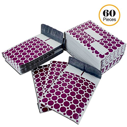 #000 4x8 Inch Pack of 60 Purple and White With Address Labels Poly Bubble Mailers Padded Shipping Envelopes Bags for Packing Goods with Self Adhesive Strip and Made Water Resistant by Wants, Needs and Basics (Image #10)'