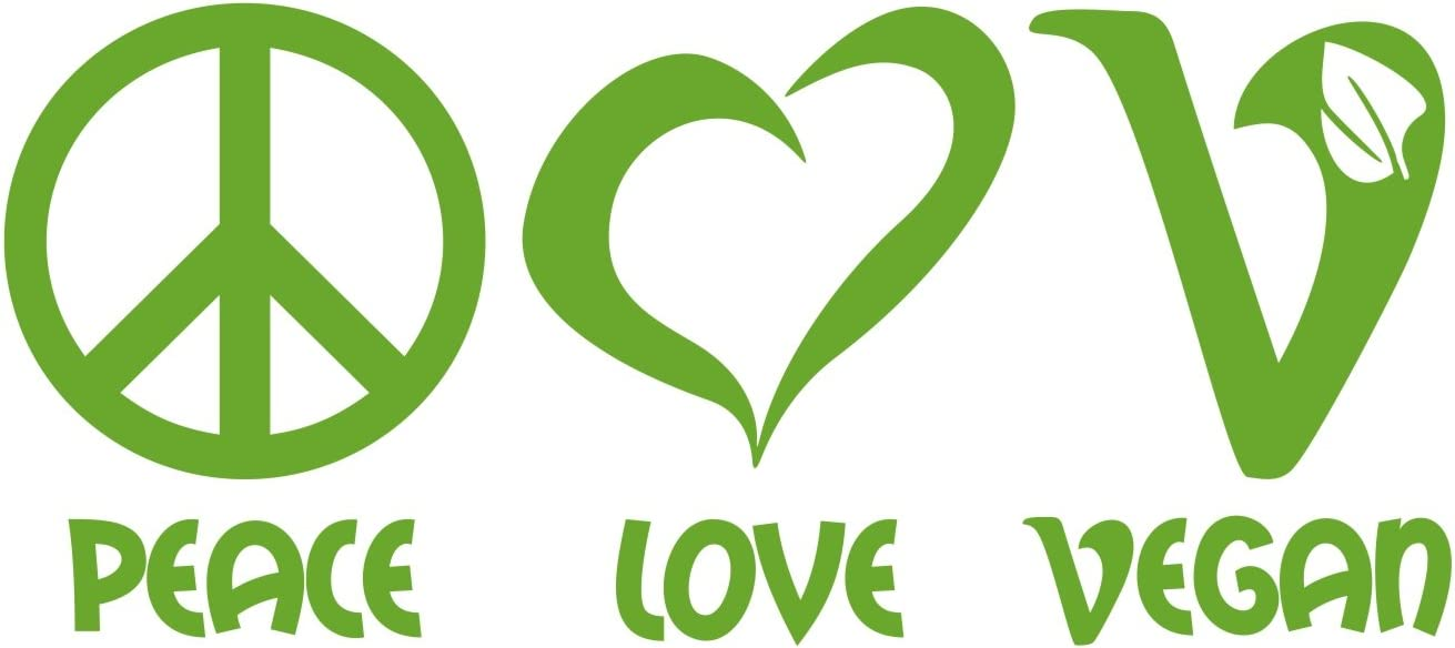 Folistick Peace Love Vegan Aufkleber Veganismus Veganer Laptop Sticker Autoaufkleber LindgrÜn Auto