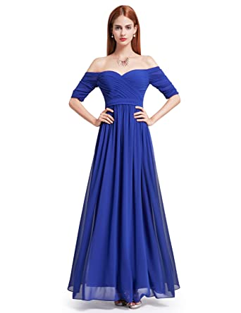 8e6e98465d15 Ever-Pretty Womens Off Shoulder Floor Length Evening Gown 4 US Sapphire Blue
