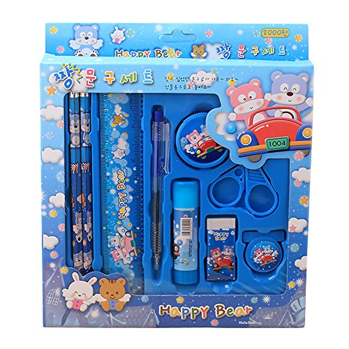 Mmrm Cute Kids Stationery Sets for School Student Birthday Christmas Gift (Blue)