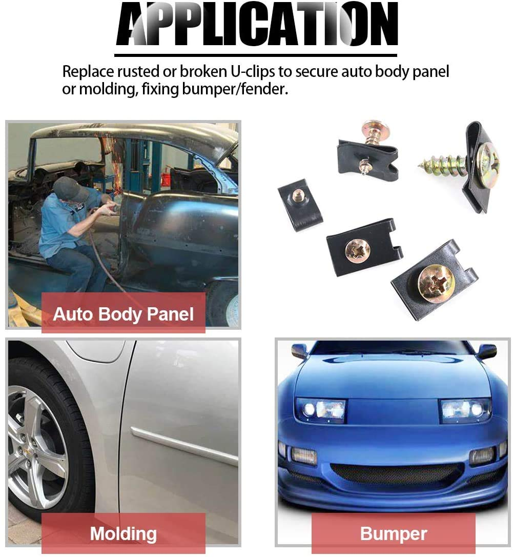 170PCS Black Auto Clip Screw Kit 9 Sizes Phosphate Finish U Nut U Clips with Zinc Plated Phillips Screws Rust Resistant Assortment Kit for Dash Door Panel Interior