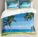 Ambesonne Hawaiian Duvet Cover Set King Size, Coconut Palm Trees and Lawn on the Sandy Poipu Beach in Hawaii Kauai Picture Print, Decorative 3 Piece Bedding Set with 2 Pillow Shams, Blue Green