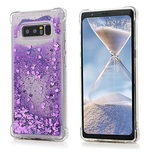 Galaxy Note 8 Glitter Case for Girls Women, Liquid Floating Bling Sparkle Shiny Moving Quicksand Slim Fit Pretty Purple Little Heart Clear TPU Bumper Protective Phone Cover