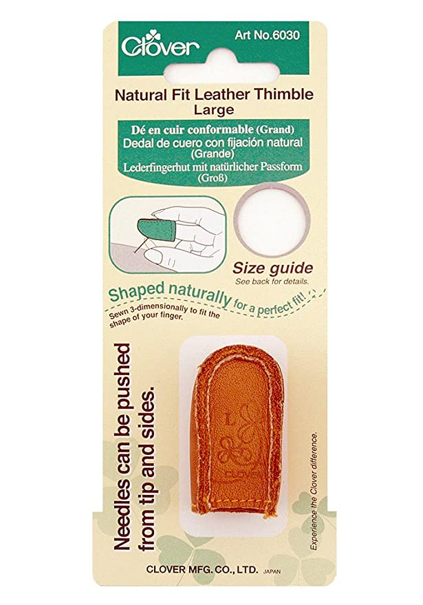 3 Pack Clover Natural Fit Leather Thimble Large