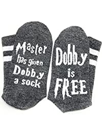 Enmoo Novelty Socks Funny Socks Master has Given Dobby a Socks for Women Men