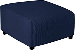 Easy-Going Stretch Ottoman Cover Folding Storage Stool Furniture Protector Soft Rectangle slipcover with Elastic Bottom (Medium,Navy)