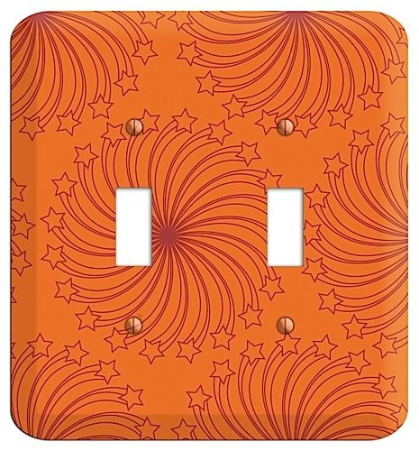 Swirl Switchplate - Multi Orange Star Swirl Double Toggle Switchplate