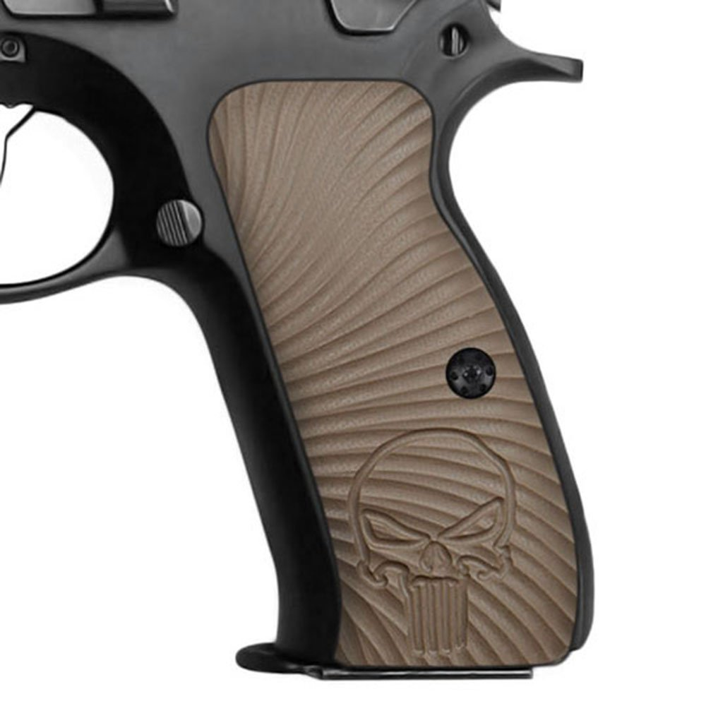 Cool Hand G10 Grips for CZ 75 Full Size, Sunburst w/Punisher Skull Texture, Brand, Dark Earth by Cool Hand