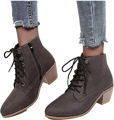 Women's Lace Up Low Heel Ankle Boots