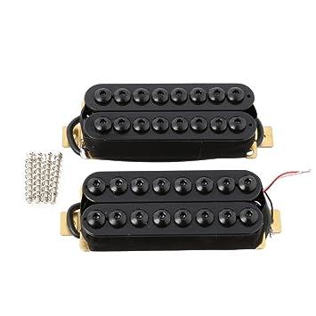lyws cerámica imán 8 cadena de pastilla de guitarra pastilla Humbucker para guitarra eléctrica Cuello y puente negro: Amazon.es: Instrumentos musicales