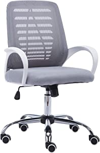 JR Knight Office Chair Ergonomic Desk Chair Mesh Task Computer Chair Mid Back Rolling Swivel Height Adjustable Comfortable Home Chairs with Arms(Gray)