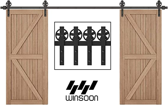 4-18FT for Choose WINSOON 4FT Antique Single Sliding Barn Door Hardware Roller Track Kit J Shape Black