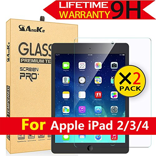 iPad-2-iPad-3-iPad-4-Glass-Screen-Protector2-Pack-AnoKeCase-Friendly03mm-9H-Anti-Scratch-Clear-Tempered-Protector-Film-Shield-Guard-For-Apple-iPad-234---2-Pack