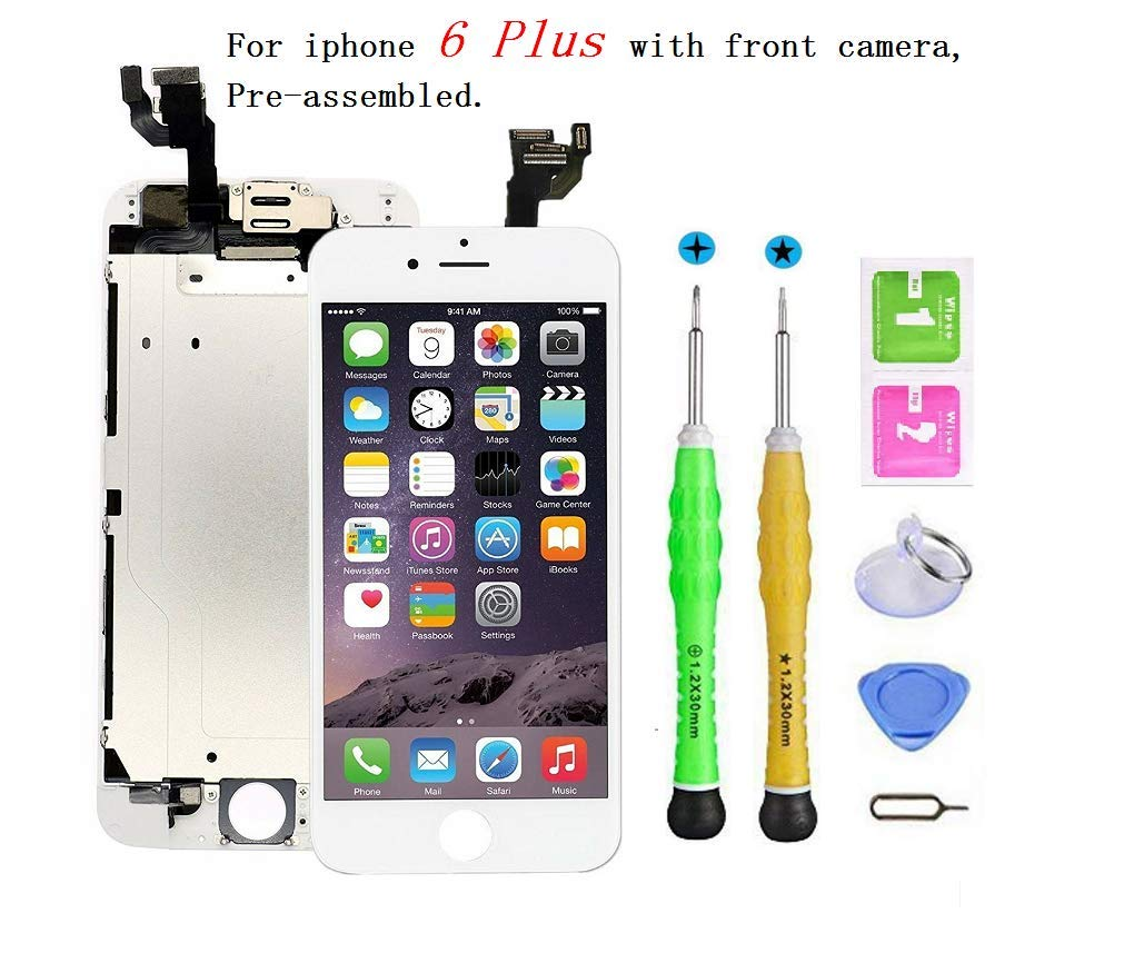 Screen Replacement Compatible with iPhone 6 Plus Full Assembly - LCD Touch Display Digitizer with Sensors and Front Camera, Fit Compatible with iPhone 6 Plus-White