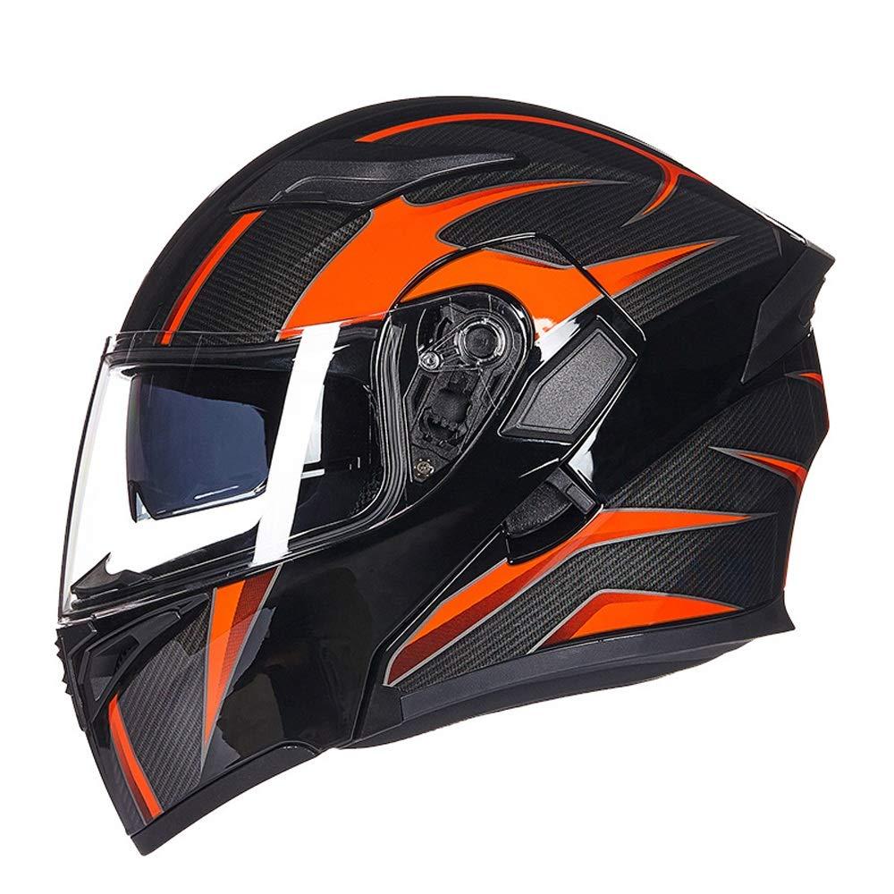MXLTIANDAO バイク 防曇 ダブルレンズ ヘルメット レーシングフル フェイスヘルメット クラッシュ オートバイ ヘルメット (Color : 02オレンジ, Size : XL) 02オレンジ X-Large
