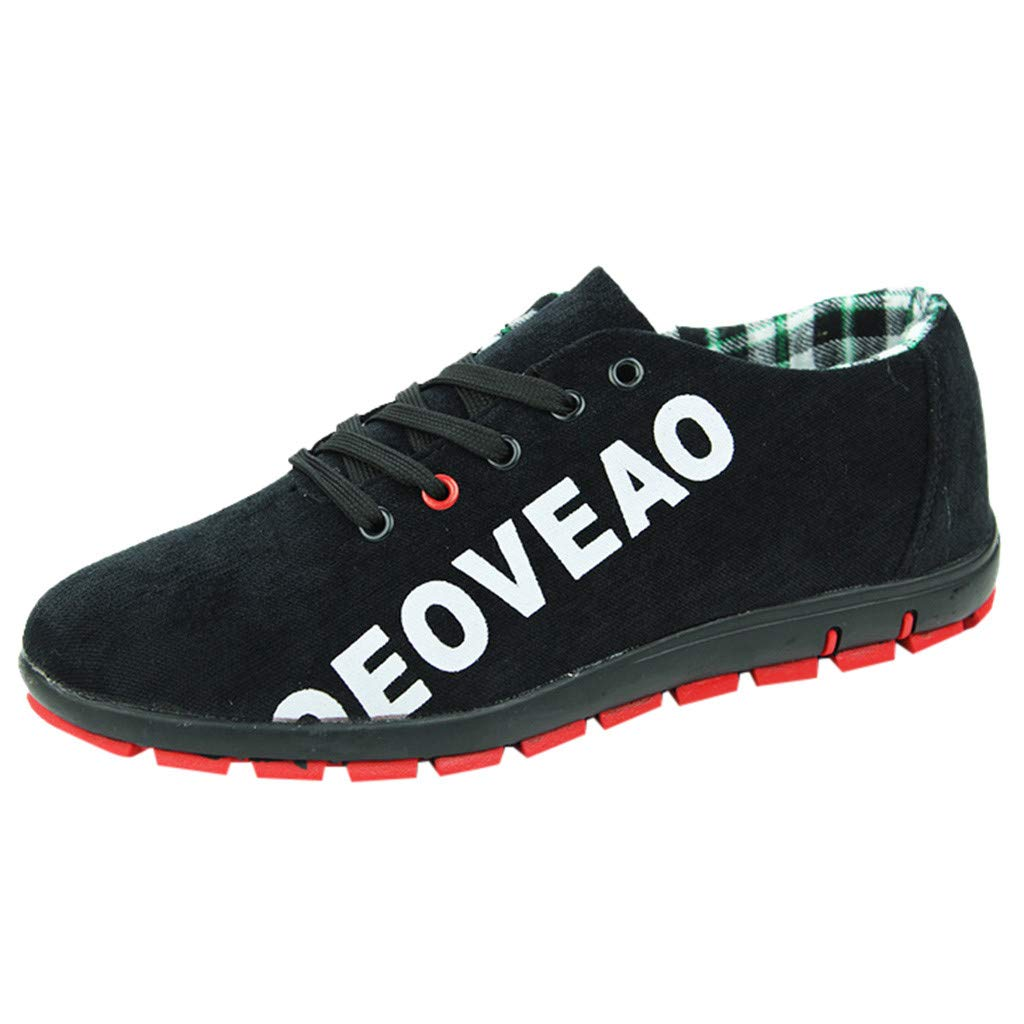 Men Canvas Shoes Casual Club Stylish Lightweight Tennis Sneakers Loafer Sneakers (US:7, Black)