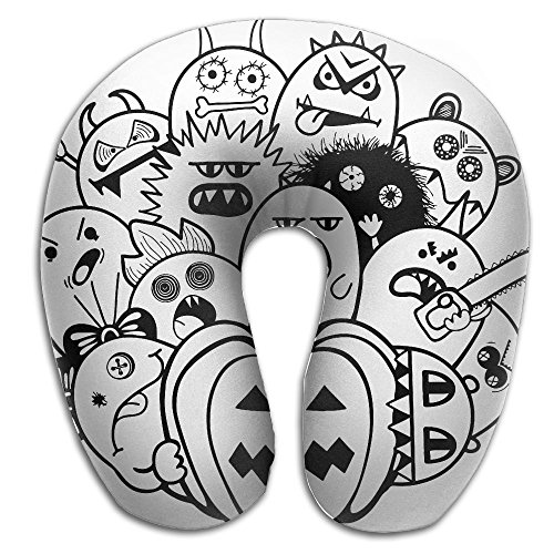 CY STORE Cartoon Halloween Doodles Comfortable U Type Pillow Neck Pillow Travel Pillows Super Soft Cervical Pillows With Resilient (Cartoon Halloween Doodles)