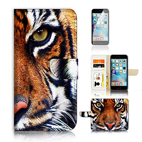 - ( For iPhone 7 ) Flip Wallet Case Cover and Screen Protector Bundle A20015 Tiger Face