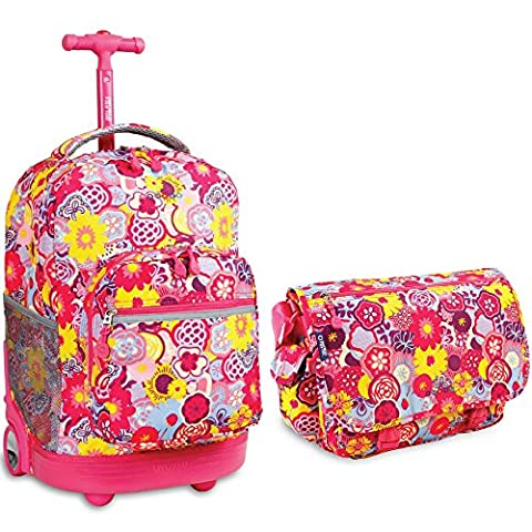J World New York Sunrise Rolling Backpack & Terry Messenger Bag Set (Poppy Pansy) - Pansy Messenger