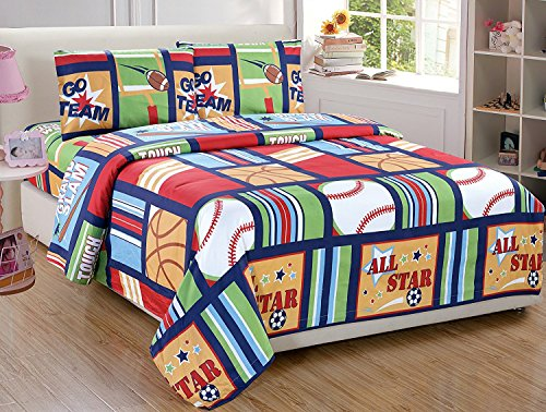 New Fancy Collection Blue Red Green Sport Kids/teens 3 Pc Sheet Set Pillow Shams Bedding Twin Size