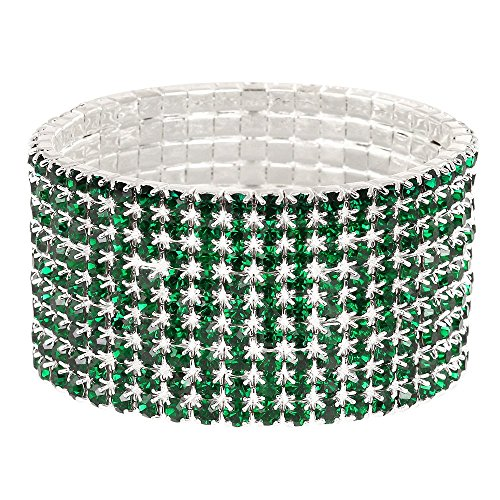 Falari Rhinestone Crystal Stretch Bracelet Sparkle Wedding Bridal 9 Rows Emerald